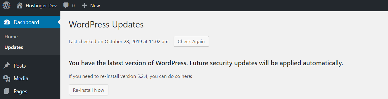 Current WordPress version in the Update section of the WordPress Dashboard