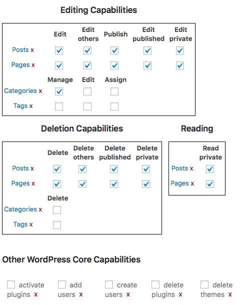 Customising WordPress User Roles Permissions