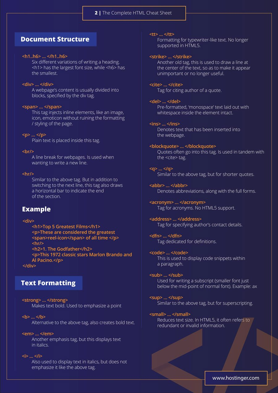 html cheat sheet new html5 tags included in pdf and jpg