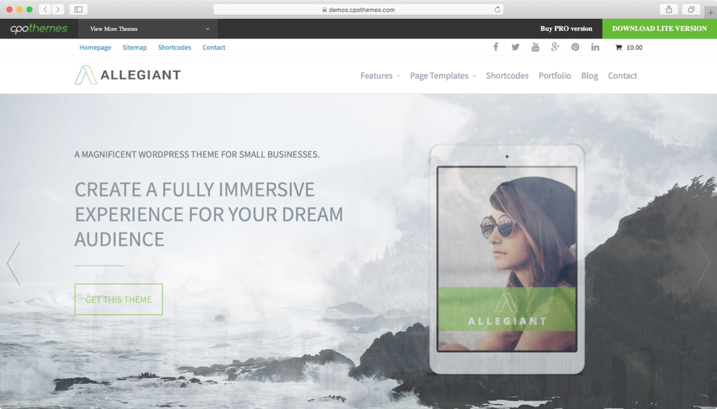 Allegiant WordPress theme.