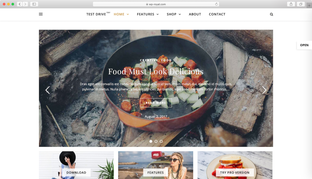 Ashe WordPress theme.