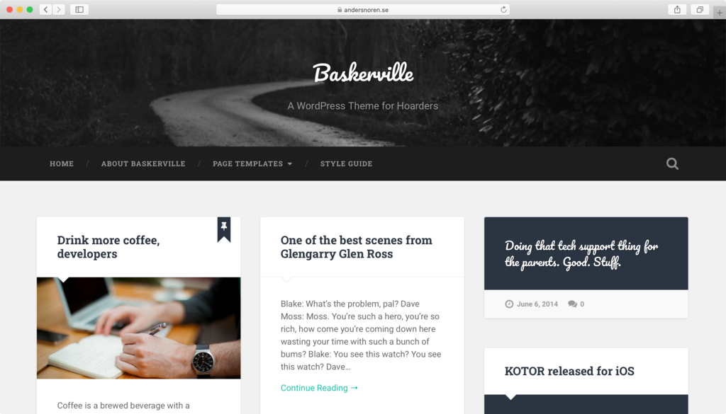 Baskerville WordPress theme.