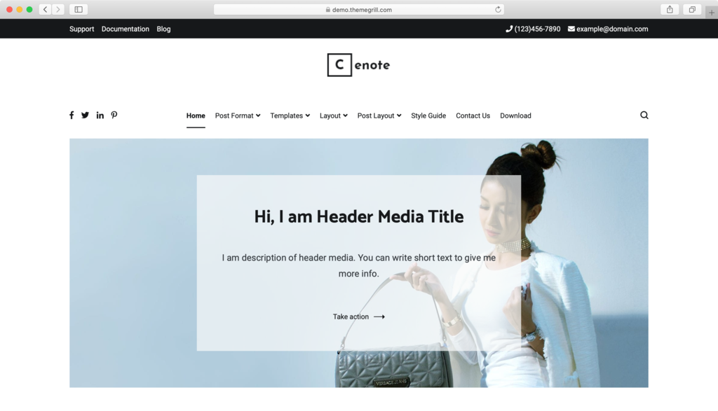 Cenote WordPress theme.