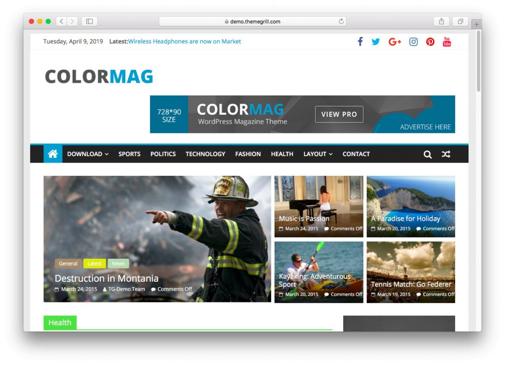The ColorMag demo page