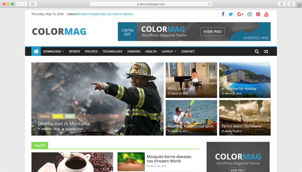 WordPress theme free ColorMag