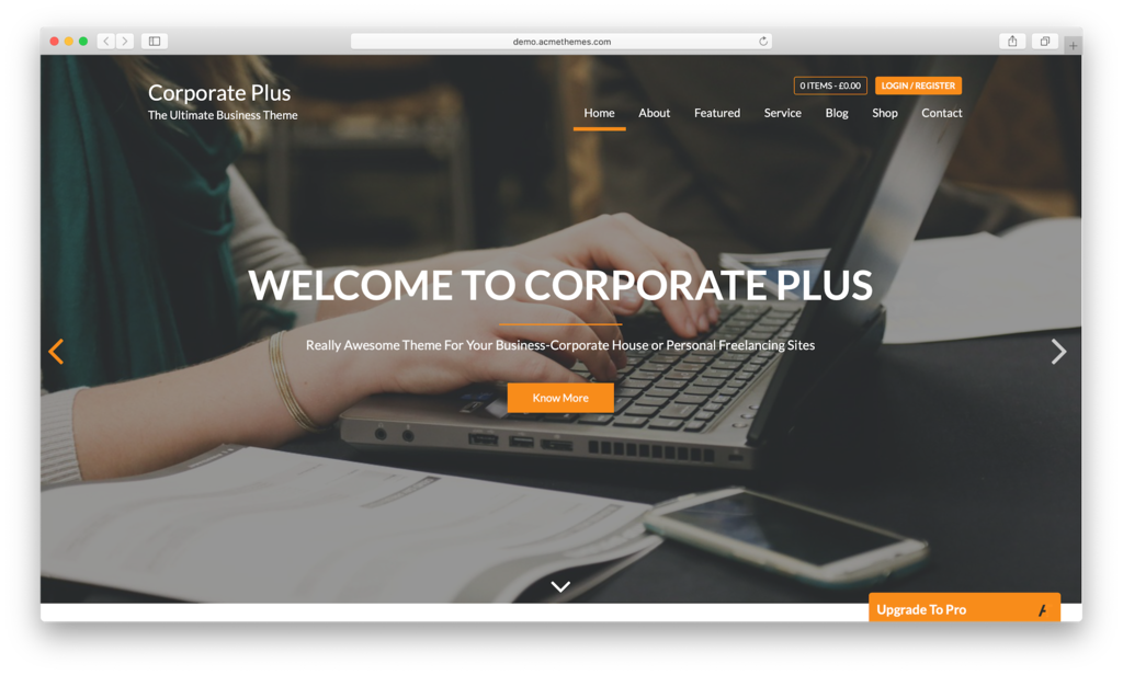 Corporate Plus WordPress theme.