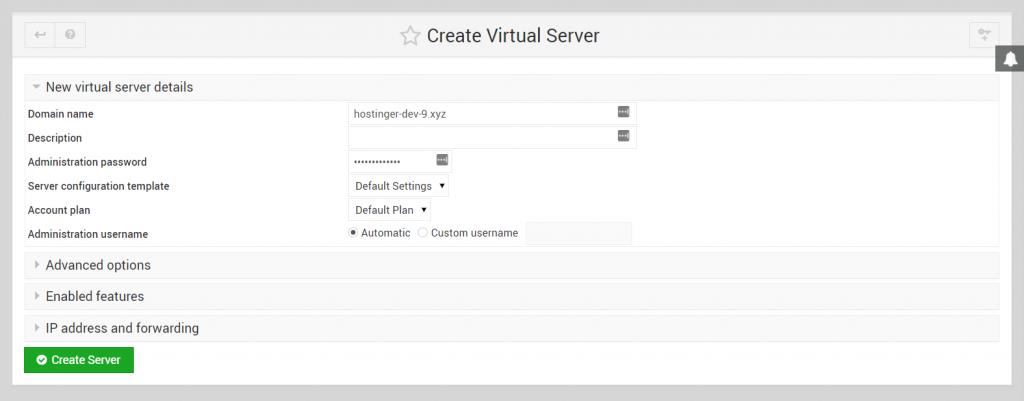 Create Virtual Server interface on Virtualmin