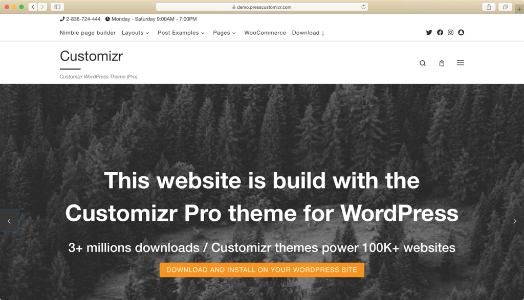 Customizr WordPress theme.