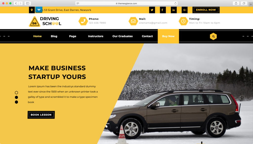 Driving School Lite WordPress theme.