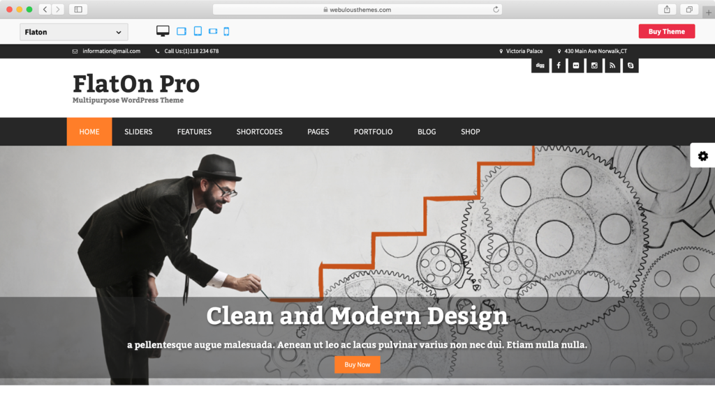 FlatOn WordPress theme.