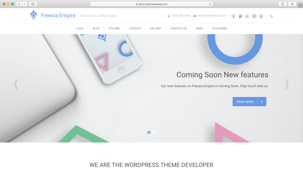 Freesia Empire WordPress theme.
