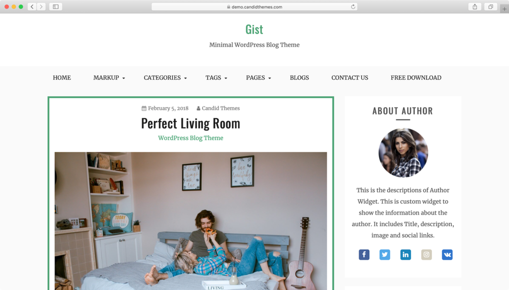 Gist WordPress theme.