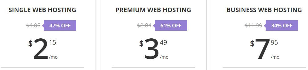 An example of several cheap WordPress hosting plans.