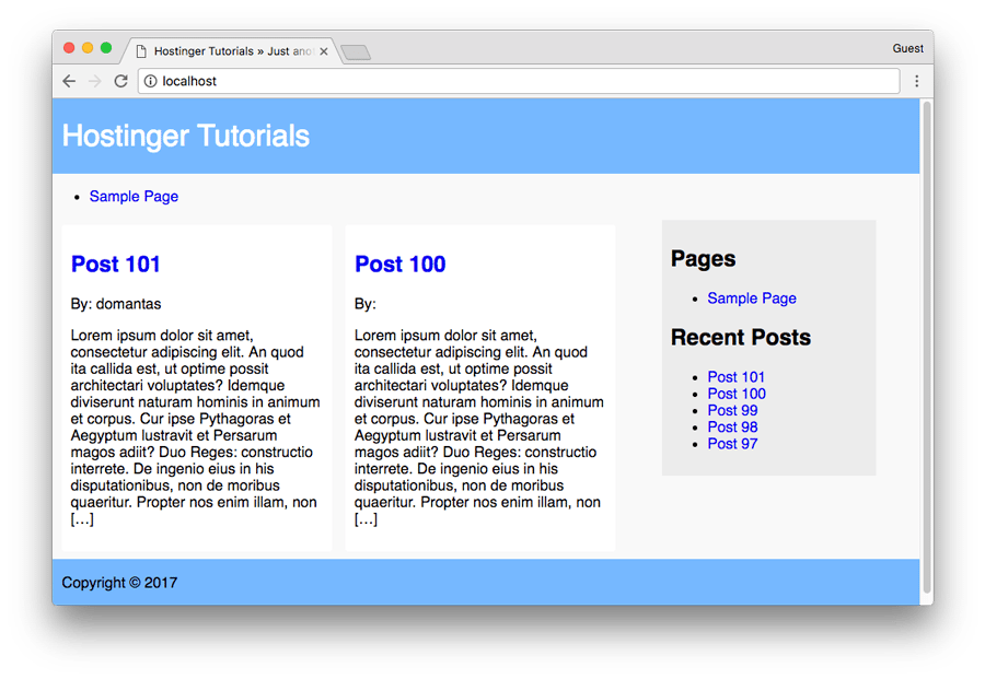 WordPress Thematic Tutorial - Final Theme Look