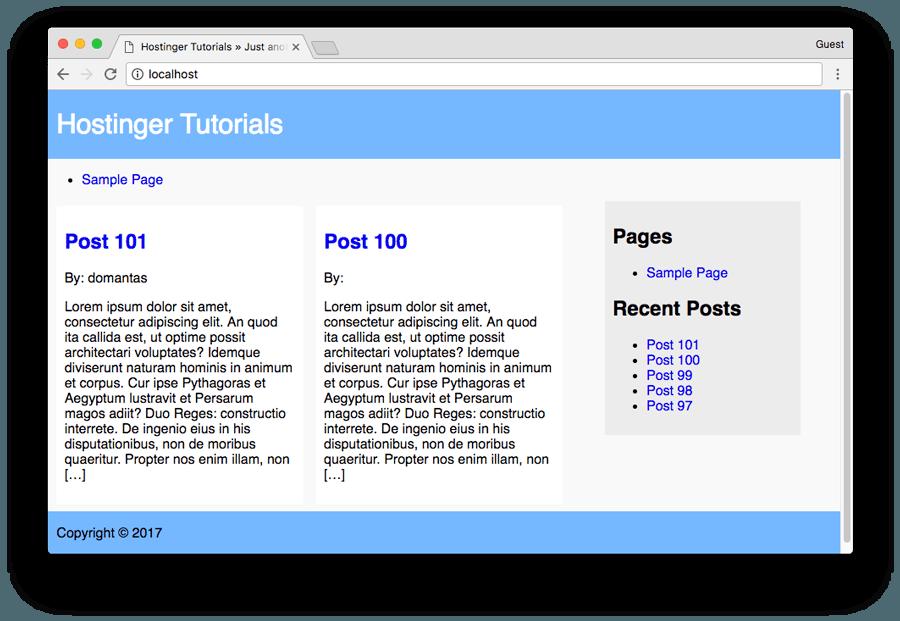 WordPress Theme Tutorial - Final Theme Look