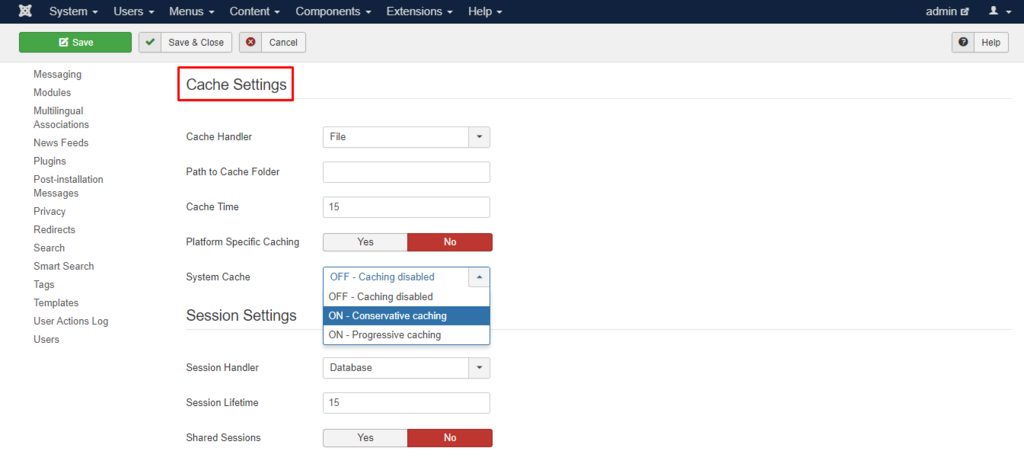 how to configure cache settings on joomla vs wordpress