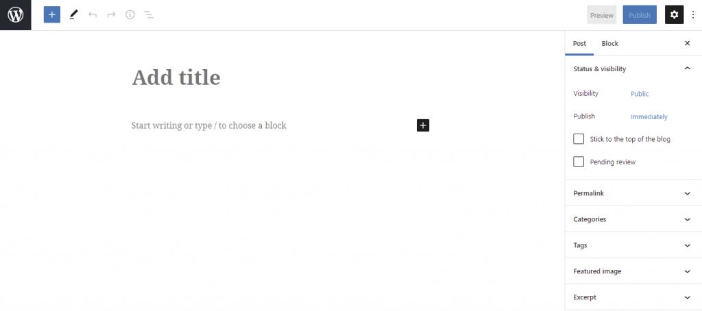 Screenshot of WordPress Gutenberg editor