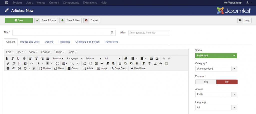 Screenshot of Joomla editor