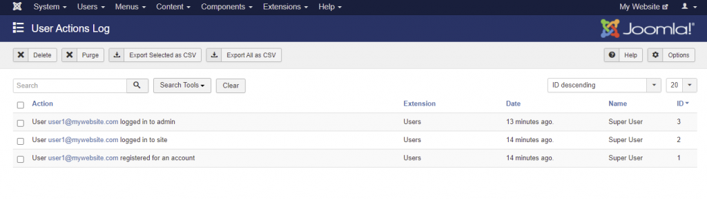 Screenshots of users action log in Joomla