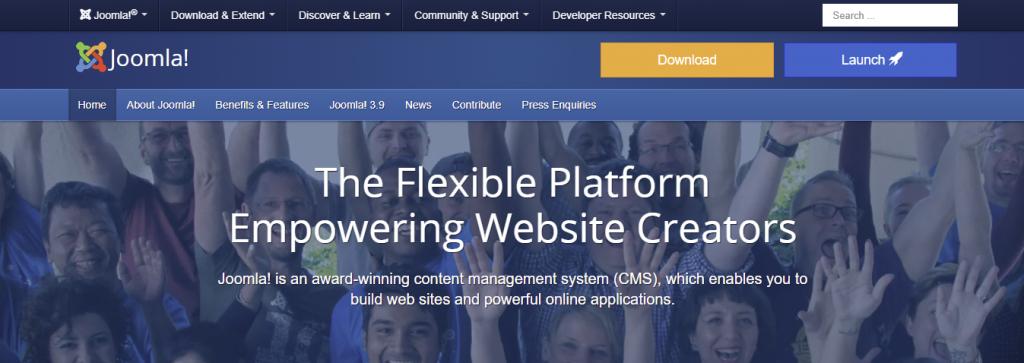 Screenshot showing Joomla's homepage