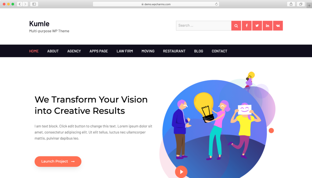 Responvie WordPress theme Kumle