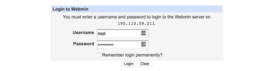 Вход в Webmin на VPS