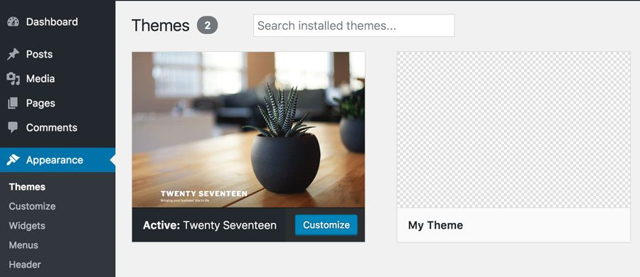 New Theme in WordPress Admin Area