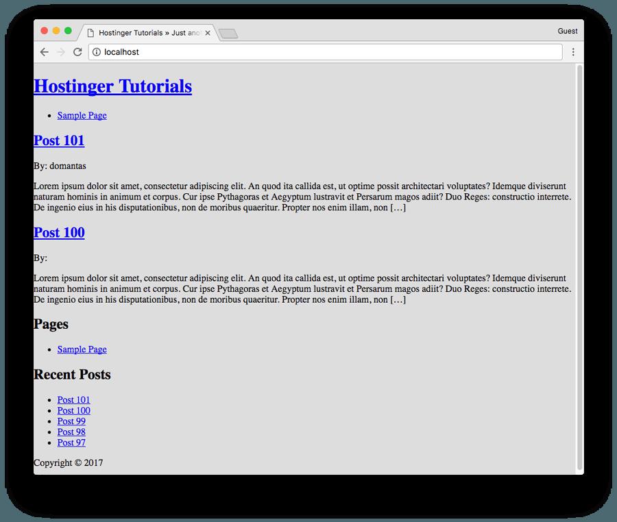 Plain look of newly created WordPress theme