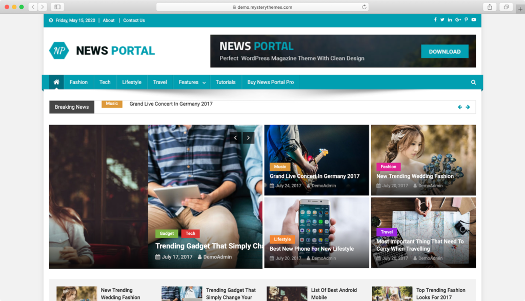 Theme WordPress Free News Portal