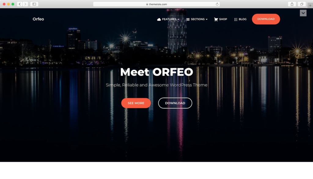 Orfeo WordPress theme.