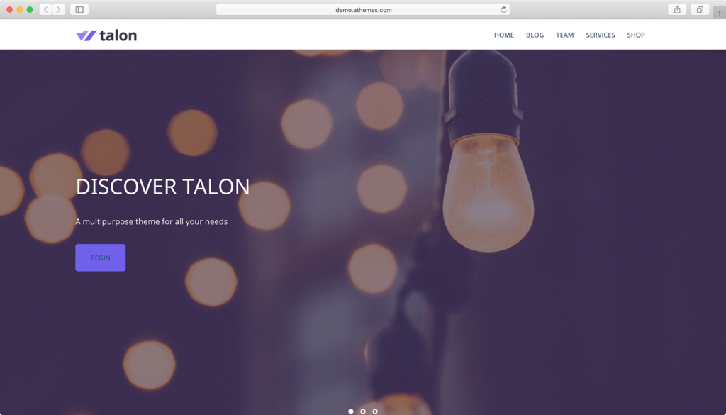 Talon WordPress theme.