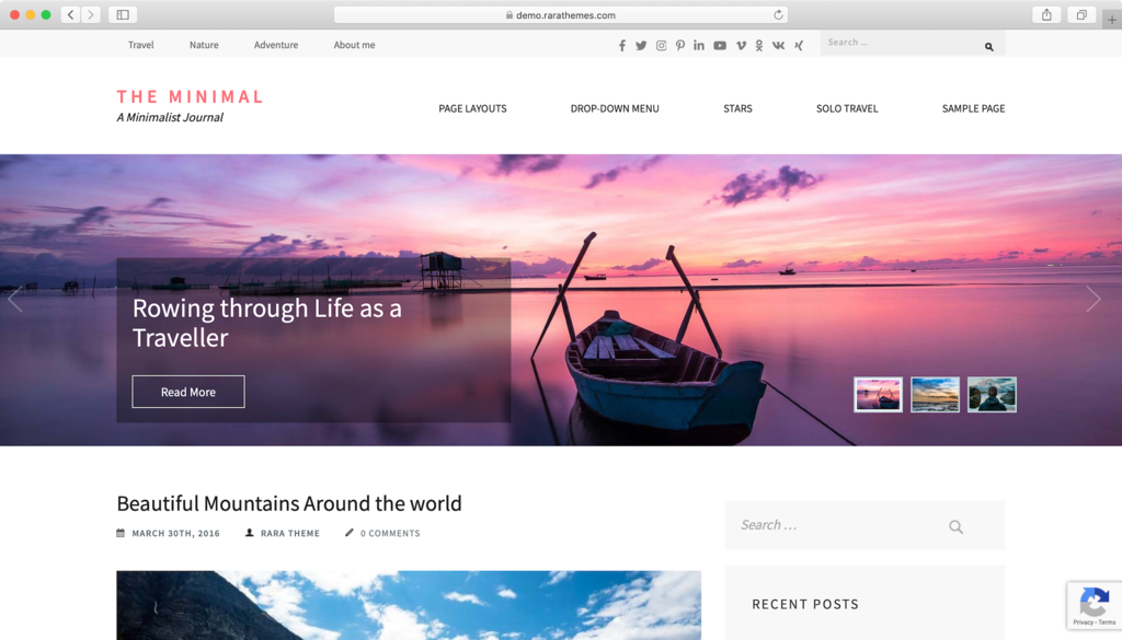The Minimal WordPress theme.