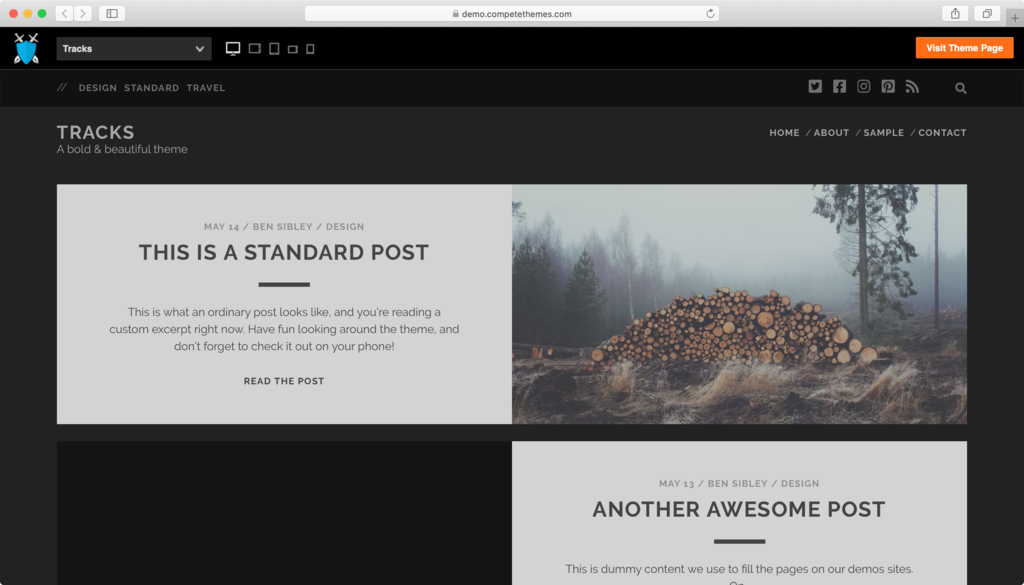 Tracks WordPress theme.