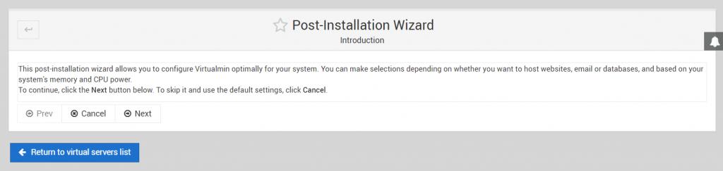 Virtualmin Post-Installation wizard