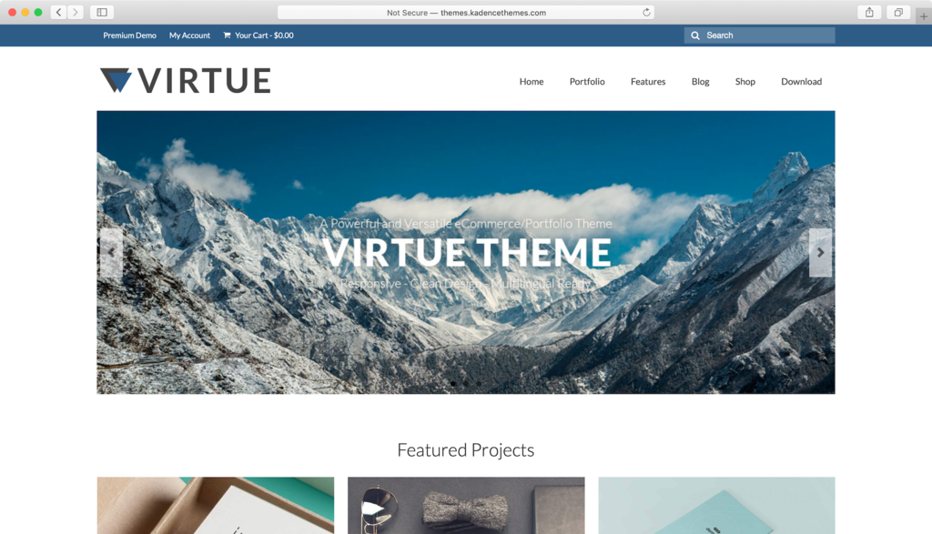 Virtue WordPress theme.