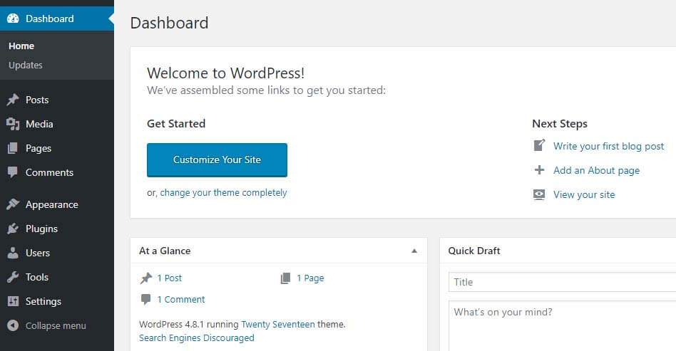 The WordPress dashboard.
