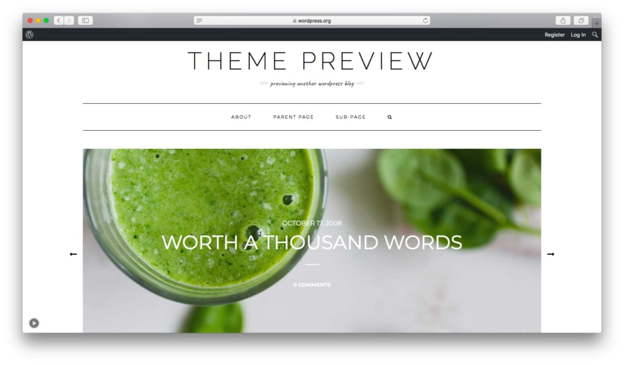 Kale free WordPress theme preview