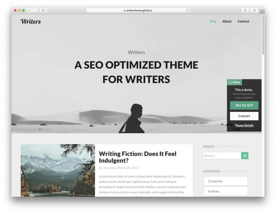 Writers WordPress teması