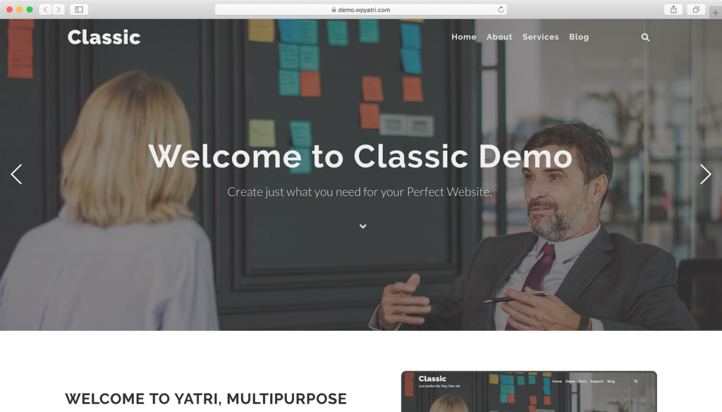 Yatri WordPress theme.