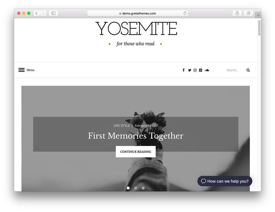Halaman demo tema Yosemite.