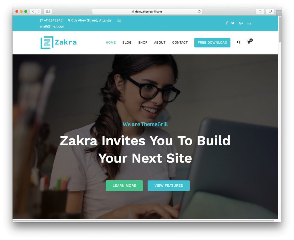 The Zakra WordPress theme's demo.