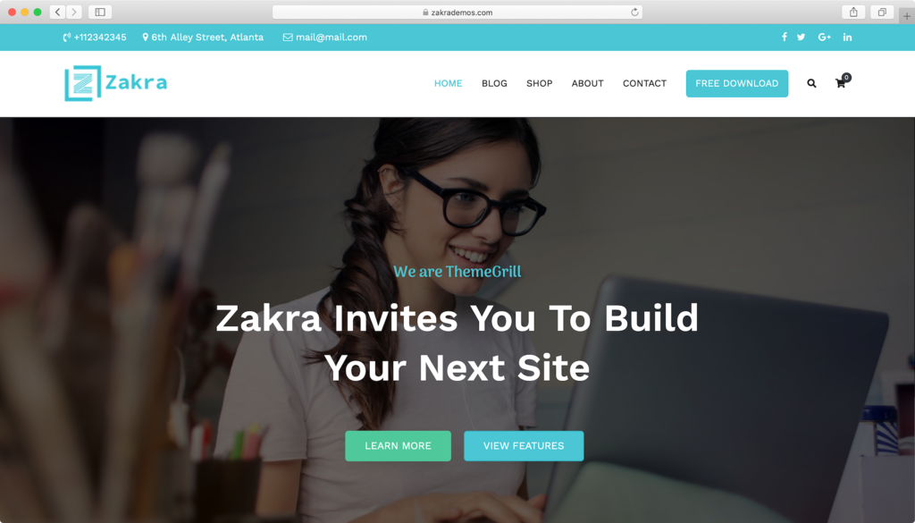 Zakra WordPress theme.