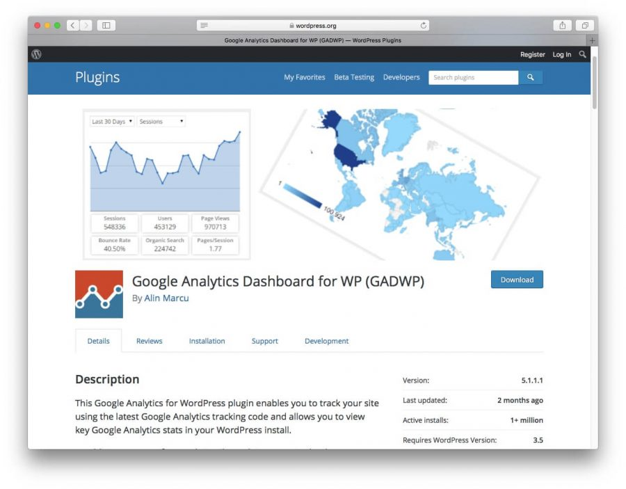 Plugin Google Analytics Dashboard for WordPress