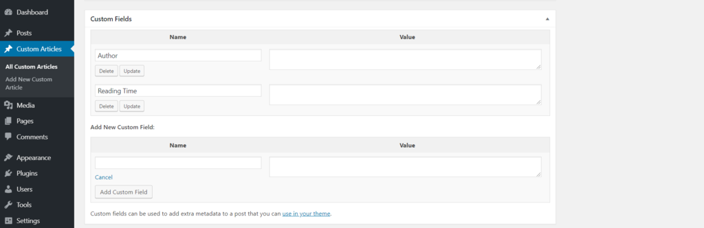 Custom field forms under your post editor