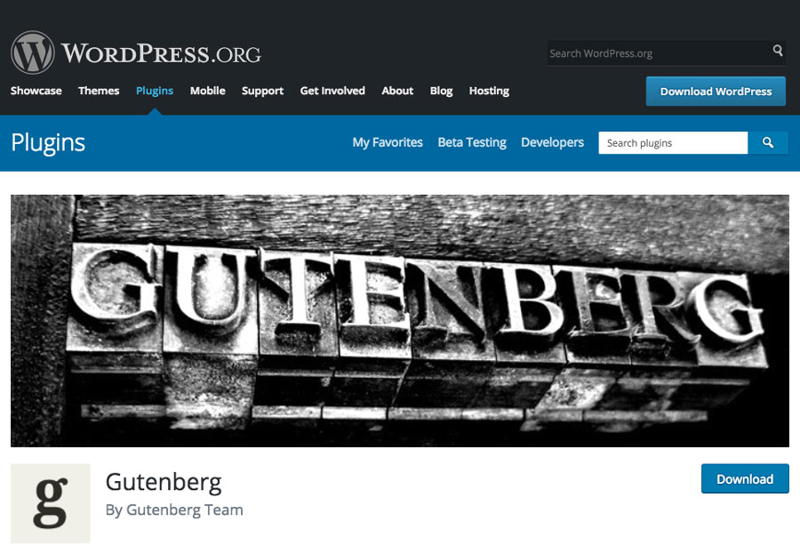 Gutenberg as a Plugin on WordPress Plugin Directory