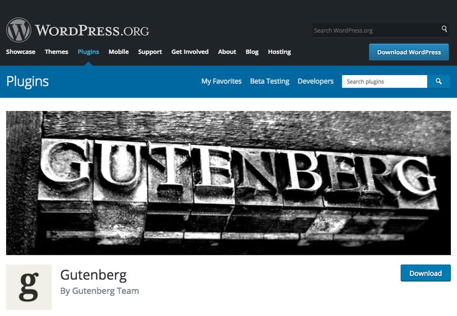 Gutenberg en tant que Plugin sur WordPress Plugin Directory
