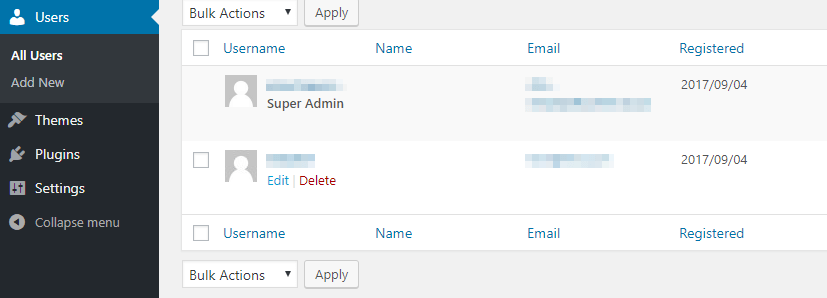 Editing one of your network's users.