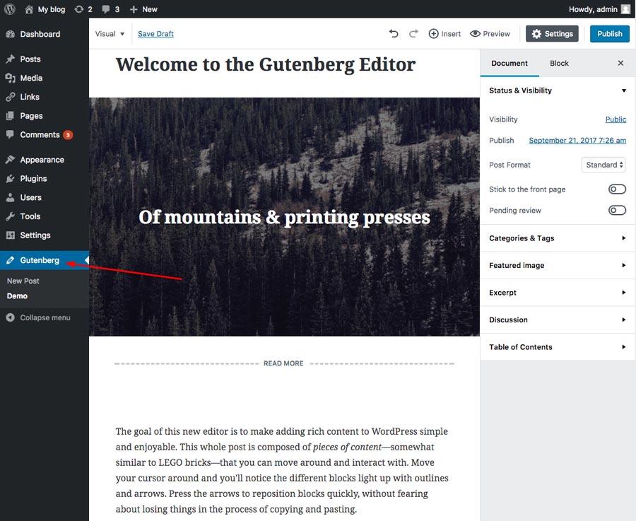 Page de démonstration de Gutenberg
