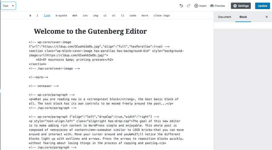 Gutenberg Text Editor Look