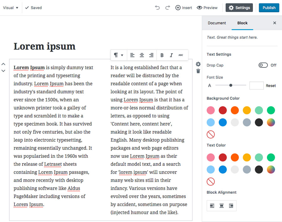 Editing Text in Gutenberg WordPress Editor